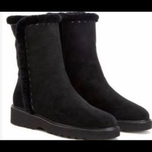 Aquatalia Black Suede and Faux Fur Lined Boots